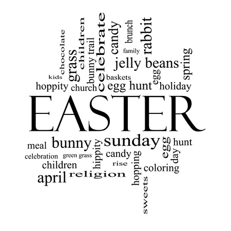 Easter Word Cloud Concept in black and white with great terms such as jelly beans, bunny, egg, sunday and more. Stock Photo