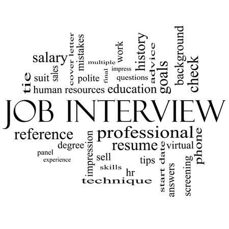 hr: Job Interview Word Cloud Concept in black and white with great terms such as suit, education, resume, degree, hr and more. Stock Photo