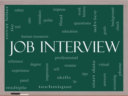 Job Interview Word Cloud Concept on a Blackboard with great terms such as suit, education, resume, degree, hr and more. Stock Photo - 17685550