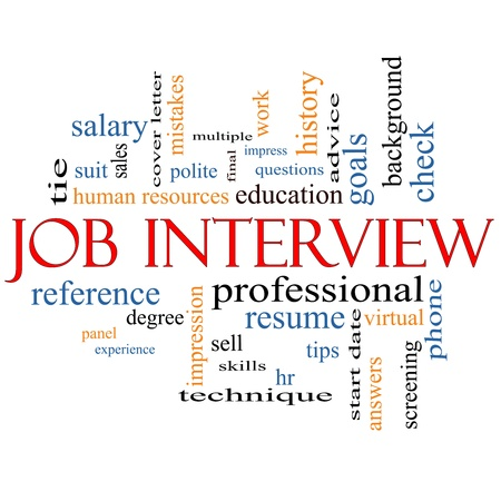 Job Interview Word Cloud Concept with great terms such as suit, education, resume, degree, hr and more.