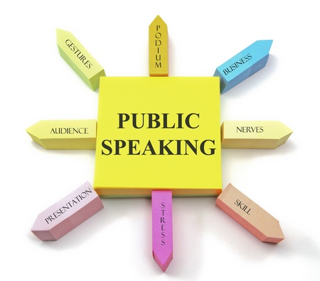 A colorful sticky note arrangement shows a public speaking concept with gestures, podium, business, nerves, audience, presentation, skill and stress labels. Banque d'images