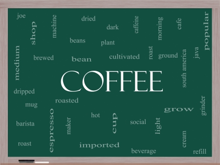 Coffee Word Cloud Concept on a Blackboard with great terms such as roast, bean, cafe, hot, cup, java and more. Stock Photo - 17685676