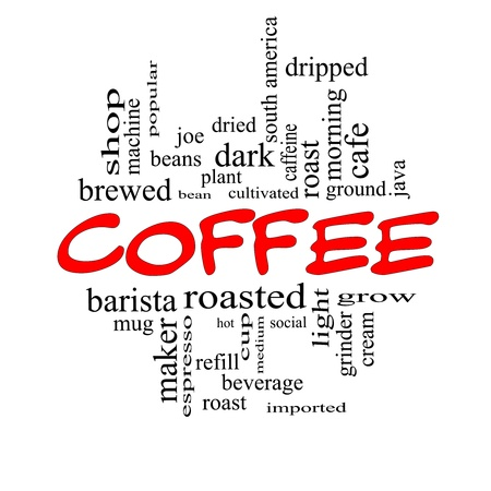 dripped: Coffee Word Cloud Concept in Red Caps with great terms such as roast, bean, cafe, hot, cup, java and more.