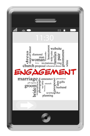 Engagement Word Cloud Concept of Touchscreen Phone with great terms such as and more. Stock Photo - 17685615