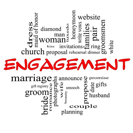 wedding vows: Engagement Word Cloud Concept in red caps with great terms such as diamond, ring, kiss, proposal and more.