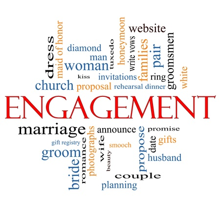 Engagement Word Cloud Concept with great terms such as diamond, ring, kiss, proposal and more.