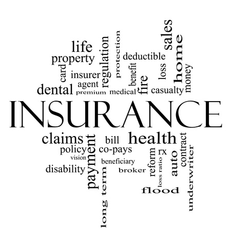 underwriter: Insurance Word Cloud Concept in black and white with great terms such as and more.