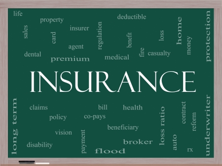 Insurance Word Cloud Concept on a Blackboard with great terms such as and more. Stock Photo