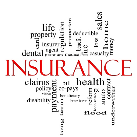 underwriter: Insurance Word Cloud Concept in red and black with great terms such as and more.