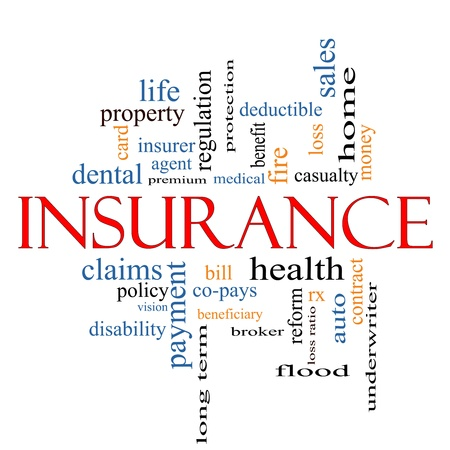 Insurance Word Cloud Concept with great terms such as and more.