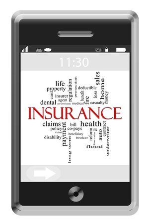 underwriter: Insurance Word Cloud Concept of Touchscreen Phone with great terms such as health, auto, sales and more.
