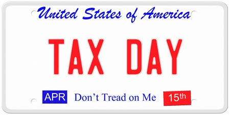 An imitation United States license plate with the words TAX DAY and April 15th on stickers.  Dont tread on me on bottom. photo