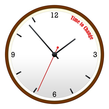 Time to Change concept on a Wooden Wall Clock with hour, minutes, and second hand.
