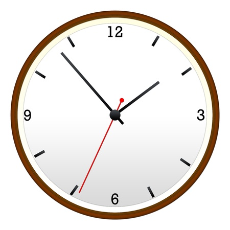 A Wooden Wall Clock with hour, minutes, and second hand. Stock Photo