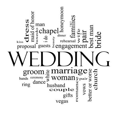 Wedding Word Cloud Concept in black and white with great terms such as dress, guests, couple, gifts, vows and more. Stock Photo - 17685655