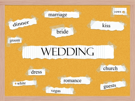 Wedding Corkboard Word Concept with great terms such as bride, kiss, groom, dress and more. Stock Photo - 17685718