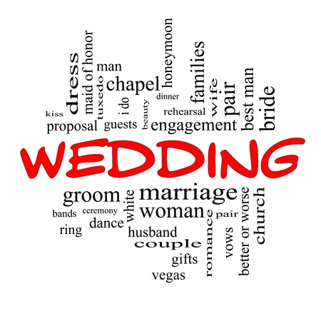 Wedding Word Cloud Concept in red caps with great terms such as dress, guests, couple, gifts, vows and more. Stock Photo - 17685671