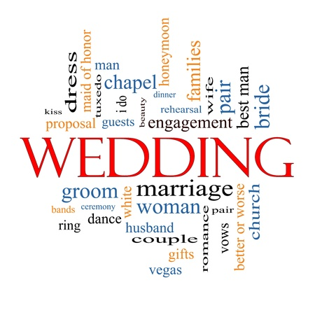 wedding guest: Wedding Word Cloud Concept with great terms such as dress, guests, couple, gifts, vows and more.