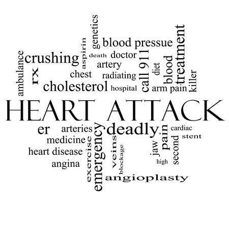 Heart Attack Word Cloud Concept in black and white with great terms such as heart disease, rx, artery, doctor and more. Stock Photo - 17685722