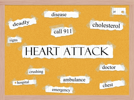 Heart Attack Corkboard Word Concept with great terms such as deadly, disease, crushing, doctor and more. photo