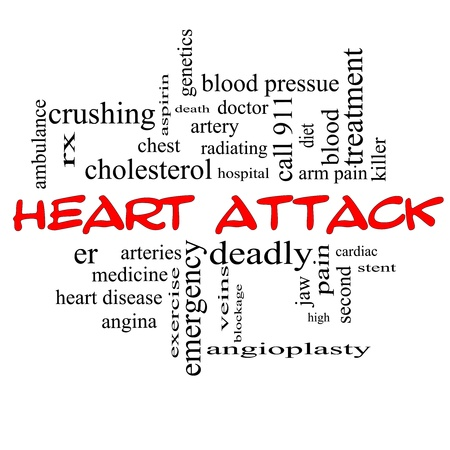 Heart Attack Word Cloud Concept in red caps with great terms such as heart disease, rx, artery, doctor and more. Stock Photo