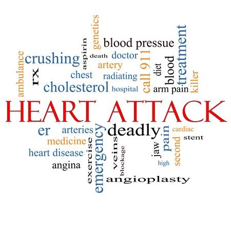 hartaanval: Heart Attack Word Cloud Concept met grote termen als hart-en vaatziekten, rx, slagader, arts en nog veel meer.