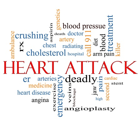 heart pain: Heart Attack Word Cloud Concept with great terms such as heart disease, rx, artery, doctor and more. Stock Photo