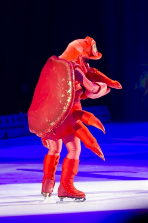 treasure trove: GREEN BAY, WI - MARCH 10: Red Sebastian the Crab from Little Mermaid on skates at the Disney on Ice Treasure Trove show at the Resch Center on March 10, 2012 in Green Bay, Wisconsin. Editorial