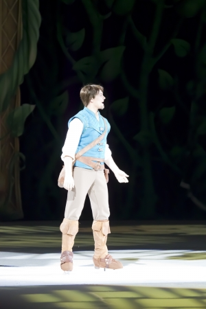 rapunzel: GREEN BAY, WI - MARCH 10: Flynn from Tangled on skates at the Disney on Ice Treasure Trove show at the Resch Center on March 10, 2012 in Green Bay, Wisconsin.