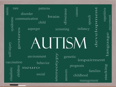 autistic: Autism Word Cloud Concept on a Blackboard with great terms such as asperger, screening, neuro, social and more. Stock Photo