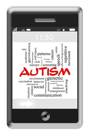 neuro: Autism Word Cloud Concept of Touchscreen Phone with great terms such as disease, neuro, treatment and more. Stock Photo