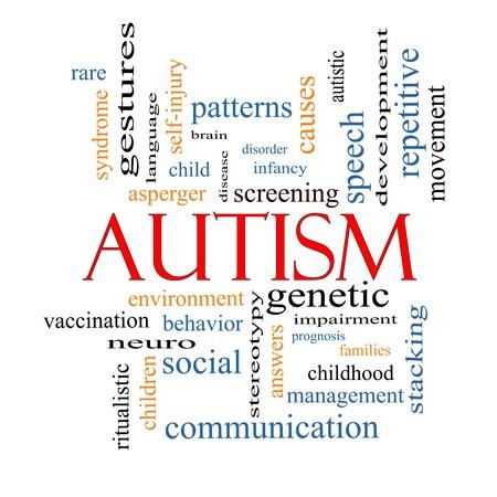 oorzaken: Autisme Word Cloud Concept met grote termen als asperger, screening, neuro-, sociale en nog veel meer.
