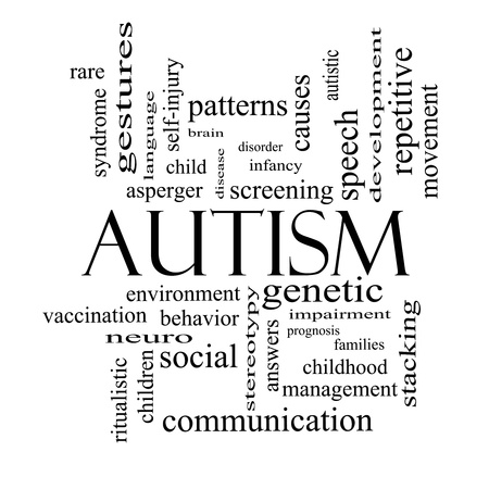 Autism Word Cloud Concept in black and white with great terms such as asperger, screening, neuro, social and more. photo
