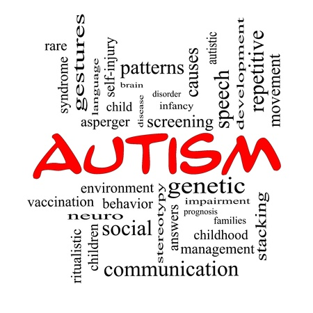 self development: Autism Word Cloud Concept in red caps with great terms such as asperger, screening, neuro, social and more. Stock Photo