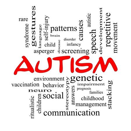 oorzaken: Autisme Word Cloud Concept in rode kappen met grote termen als asperger, screening, neuro-, sociale en nog veel meer.