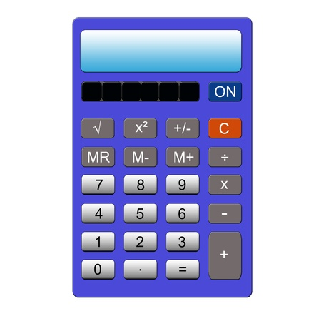 functions: An imitation blue calculator with the normal key pad and memory functions