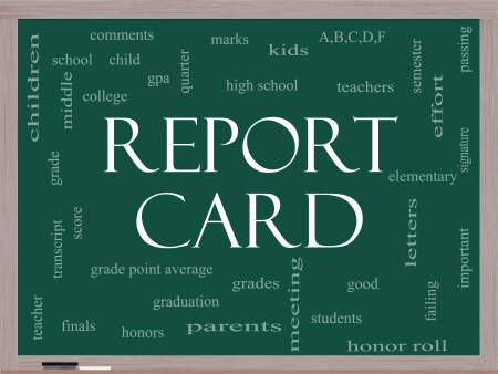 d mark: Report Card Word Cloud Concept on a Blackboard with great terms such as children, grades, kids, school and more.
