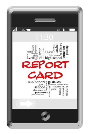 studens: Report Card Word Cloud Concept of Touchscreen Phone with great terms such as high school, grades, teachers and more. Stock Photo