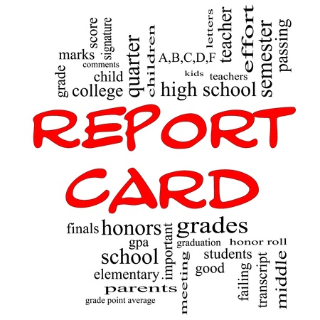 Report Card Word Cloud Concept in red caps with great terms such as children, grades, kids, school and more. photo