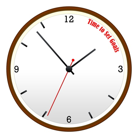 Time to Set Goals concept on a Wooden Wall Clock with hour, minutes, and second hand.