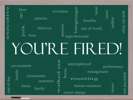 severance: Youre Fired Word Cloud Concept on a Blackboard with great terms such as boss, unemployed, resume, issues and more.