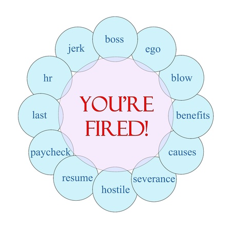 severance: Youre Fired concept circular diagram in pink and blue with great terms such as jerk, boss, hr, severance and more.