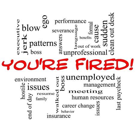 severance: Est�s despedido Concepto nube de la palabra en may�sculas rojas con t�rminos de calidad, como jefe, desempleados, reanudar, temas y m�s.