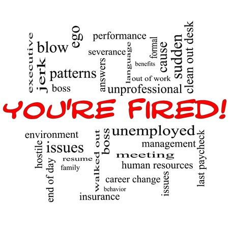 severance: Youre Fired Word Cloud Concept in red caps with great terms such as boss, unemployed, resume, issues and more.