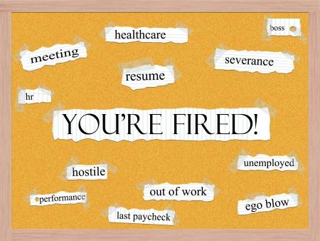 severance: Est�s despedido Concepto Corkboard Word con t�rminos de calidad, como hoja de vida, indemnizaciones, horas, salas de reuniones y mucho m�s.