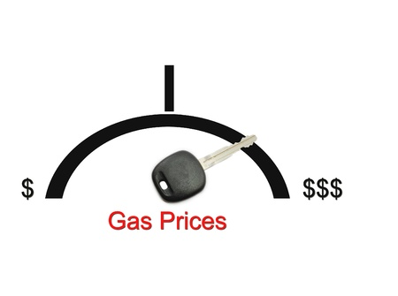 Gas Prices Money Concept with a fuel gauge, car key and dollar signs.