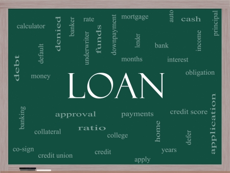 underwriter: Loan Word Cloud Concept on a Blackboard with great terms such as rates, interest, bank, money and more. Stock Photo
