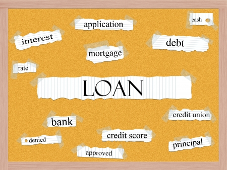 credit union: Loan Corkboard Word Concept with great terms such as rate, interest, debt, cash and more.