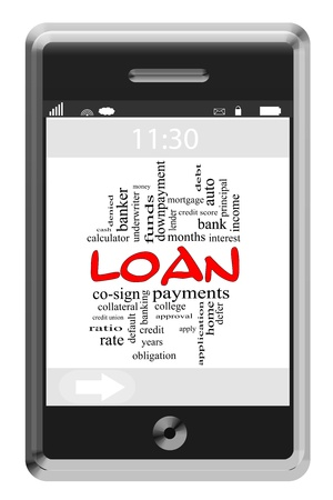 Loan Word Cloud Concept of Touchscreen Phone with great terms such as interest, rate, lender and more. photo