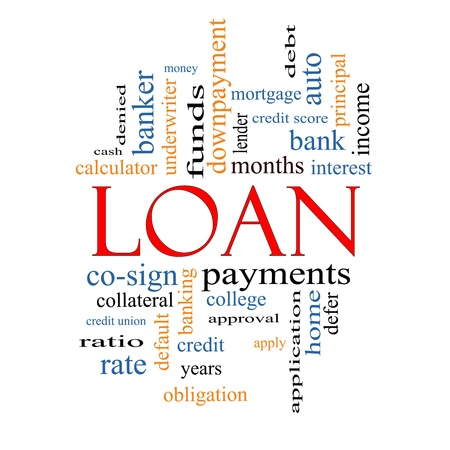 underwriter: Loan Word Cloud Concept with great terms such as rates, interest, bank, money and more.